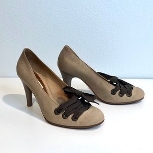 Marni Beige Mary Jane Pumps with Brown Ribbon